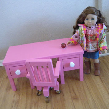 Teacher's Doll Desk & Rolling Chair - Like Kit's Desk - for American Girl or Waldorf