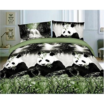 Vivid 3D Bed Sheet Set Wild Life Animals,Panda eating Bamboo Print in Queen King Size - Wrinkle Free, Fade Resistant, Ultra Soft