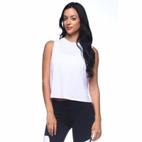White Womens Flowy Basic Loose Tank Top