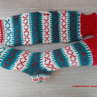 Turkish hand knitted women's or men's Christmas unique warm socks.