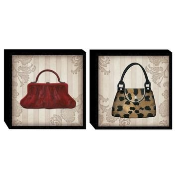 Glamour Color Purses Wood Wall Art (Set of 2) (2063) - Illuminada