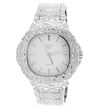 Men's Chrome Tone Square Face Nugget Style Band Watch