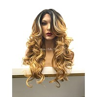 Balayage Blond Human Hair Blend Deep Real Hair Part Lace Front Wig -  Michella