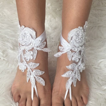 White lace barefoot sandals, FREE SHIP, Hand embroidered, beach wedding barefoot sandals, lace shoes, wedding shoe, bridesmaid gift, beach