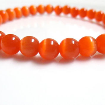 Orange Cats Eye Stretch Bracelet - Statement Bracelet - Stacking Bracelet