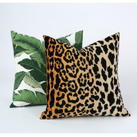 Velvet Leopard Zipper Pillow Cover 24x24 26x26 Hollywood Regency Cheetah Braemore Jamil Cushion Velvet Animal pillow cover-8S4L