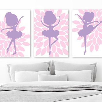 BALLERINA Wall Art, Flower BALLERINA Canvas or Prints, Baby Girl Pink Purple Nursery Decor, Girl Pink Purple Ballerina Bedroom Art, Set of 3