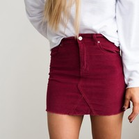 Corduroy Mini Skirt- Wine - Thirty One Boutique