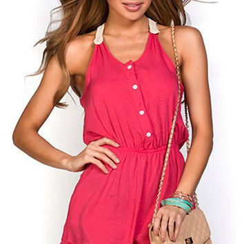 2015 New Fashion Sexy women Jumpsuits & Rompers Coral Button Down Crochet T Back Summer Romper LC60364