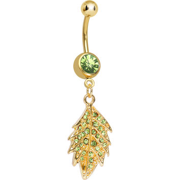 Light Green Gem Gold Plated Delicate Drifting Leaf Dangle Belly Ring