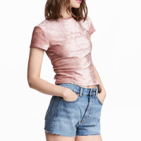 Crushed velvet top - Pink - Ladies | H&M GB