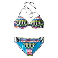 Xhilaration® Junior's 2-Piece Swimsuit -Multicolor Stripe