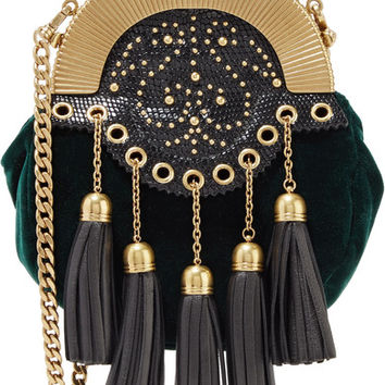 Miu Miu - Embellished textured leather-trimmed velvet clutch