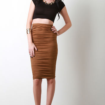 Vegan Suede Side Ruched Midi Skirt