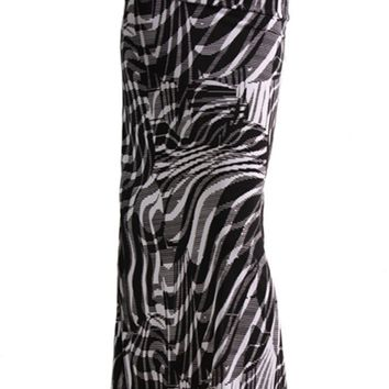 Animal Print Striped Full Length Banded Waist Foldover Maxi Skirt (Zebra)