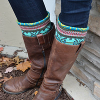 Boot Socks Buy 2 get 1 FREE Aztec style teal pink and yellow Knee High Socks Leg Warmers Boot Cuffs