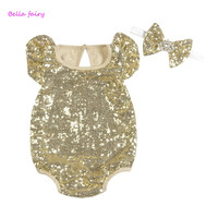 Baby Rompers Baby Girl Sequin Romper 2016 New Summer Style Cotton Baby Girls Clothing Set Kids Jumpsuit