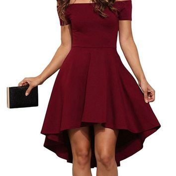 Summer Women Elegant Cocktail Party Dresses Slash Neck Off Shoulder Skater Dress Formal High Low Dresses Vestidos