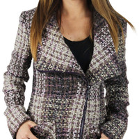 Jessica Simpson Women's Asymmetrical Boucle Plaid Wool Coat