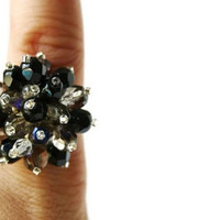 Cocktail Ring. Adjustable Ring in Black and Gray. Cluster Ring. Ready to Ship.
