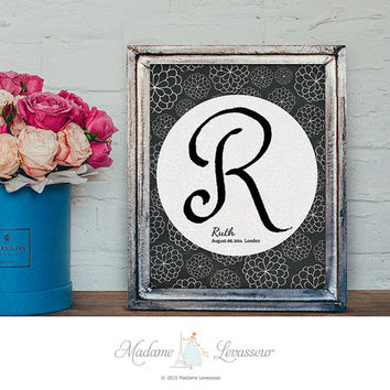 Baby Nursery Art Baby Birth Nursery Decor Monogram Chalkboard Art Prints Personalized Birthday Gift signature logo watermark initial art