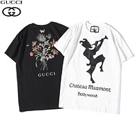 GUCCI 2019 early spring new tide brand clown letter printing round neck pullover loose short-sleeved T-shirt