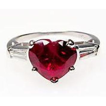 A 1.5CT Heart Cut Red Ruby and White Sapphire Baguette Promise Engagement Ring