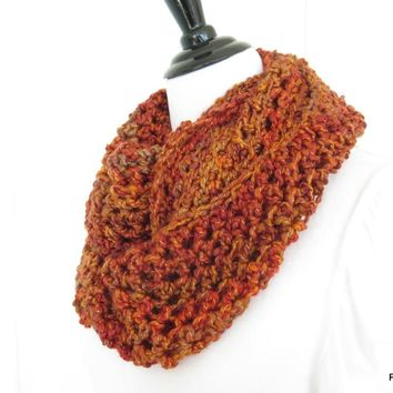 Orange Chunky Crochet Infinity Scarf, Fall Fashion
