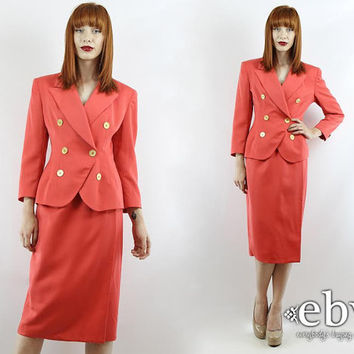 Vintage 90s CHRISTIAN DIOR Coral Power Suit XS S Skirt Suit Two Piece Set Two Piece Outfit Two Piece Suit Separates Dior Dress Dior Suit