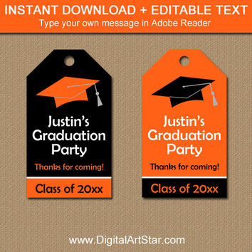 Graduation Gift Tags - Printable High School Graduation Tags - EDITABLE College Graduation Party Favor Tags Graduation Hang Tag Orange Black