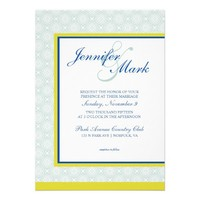 Elegant Medallion Motif in Mint, Yellow, & Cobalt Personalized Announcements from Zazzle.com