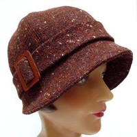 Cloche Hat in Chocolate Brown Vintage Tweed by bonniesknitting