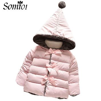 2017 New Winter Kids Warm Clothes Outerwear Baby Girl Toddler Parkas Coats Newborn Fashion Hooded Children Girls Cotton Clothing