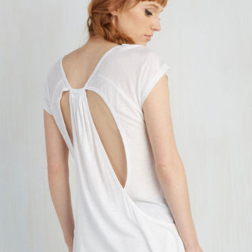 Athletic Mid-length Cap Sleeves Dawn a Roll Top in White