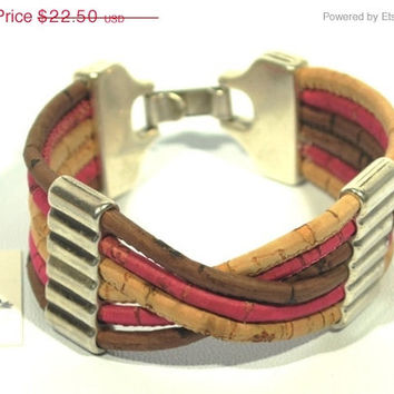SALE Trendy Cork Bracelet with Zamak * Bracelet in Cork * Cork Jewelry * Bracelet for her * gifts for women * silver bracelet * made to orde