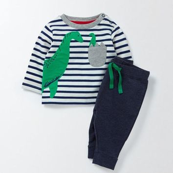 Jumping meters autumn spring boys clothing sets applique children clothes long sleeve knitted stripes kids boys suits animal set