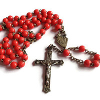 Vintage Short Rosary  . Red Beaded Rosary . Religious Cross Crucifix . Prayer Necklace .