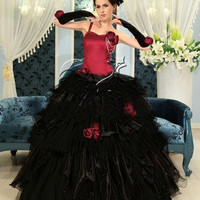 Black and Red One-Shoulder Gothic Wedding Dress = 1956875588