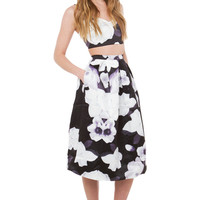 Final Hour Black Floral Midi Skirt