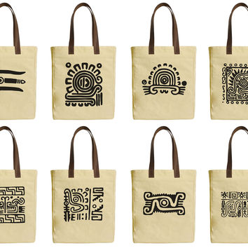 Mexican Culture Icons Beige Printed Canvas Tote Bags Leather Handles WAS_30