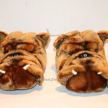 Licensed cool BIG REAL LIFE BULL DOG W/ FANGS SOFT PLUSH SLIPPERS ADULT HOUSE SHOES M 9/10 NWT