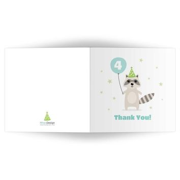 Raccoon birthday party thank you card with customizable age on balloon, folded