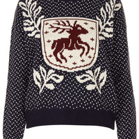 Knitted Stag Crest Jumper - Knitwear - Clothing - Topshop USA