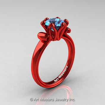 Modern Antique 14K Coral Red Gold 1.5 Carat Swiss Blue Topaz Solitaire Engagement Ring AR127-14KCRGSBT