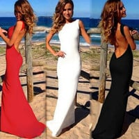 2017 Sexy Evening Party Women Maxi Dresses Bare Back Sleeveless Prom Robe Women Bodycon Long Dress Summer Dress Black/White/Red