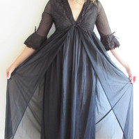 Sexy Vintage Black Peignoir Nightgown and Robe Set Sheer and Lace Goth Victorian