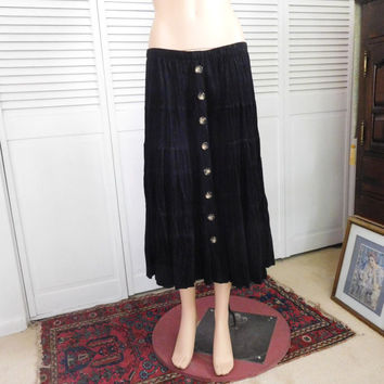 Black Skirt long Gypsy Skirt Maxi Elastic Waist Tiered Swing Skirt Layered Hippie Clothes Vintage Clothing Bohemian Broomstick