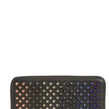 Christian Louboutin 'Panetone' Multicolor Spike Calfskin Leather Zip Around Wallet | N