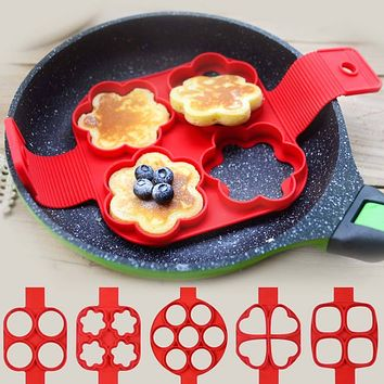 4 Holes Fantastic Frying Eggs Mold Silicone Non Stick Pancake Maker Creative Kitchen Cooking Tools Heart Shape Egg Ring