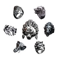 7 Style Wild Larger Vintage Animal Men Ring Antique Silver Tiger Wolf Lion Elephant Male Rings Indian Jewelry Bagues Anillos